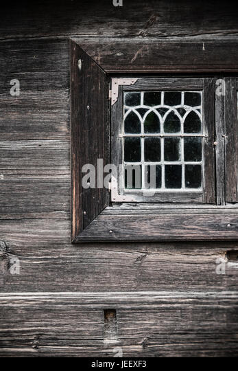 Window of old wooden house. Rural building detail. Scandinavian countryside home. - Stock-Bilder