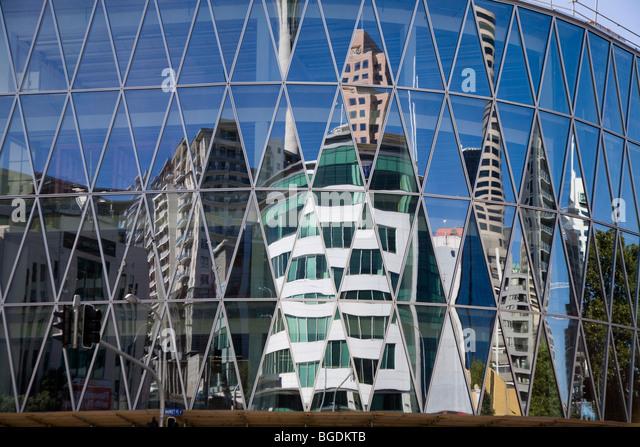Reflection of modern buildings in facade, Auckland, New Zealand, North Island - Stock-Bilder