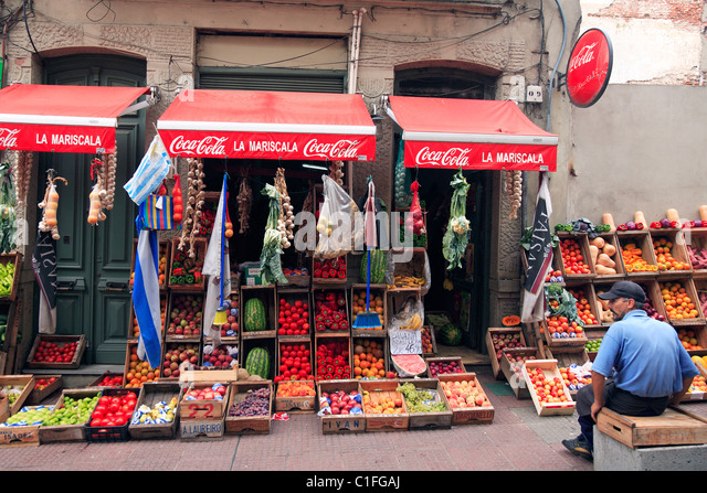 old vegetables store at Montevideo, Uruguay - Stock Image