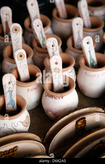 Local clay souvenirs sold in Quilmes, Salta Province, Argentina, South America - Stock Image