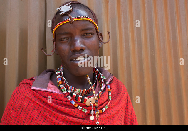 Maasai man at the Predator Compensation Fund Pay Day, Mbirikani Group Ranch, Amboseli-Tsavo eco-system, Kenya, East - Stock Image