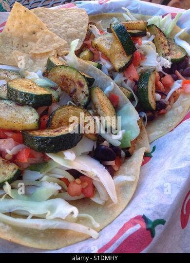 Veggie Tacos at Dos Geckos in Mt Shasta - Stock Image