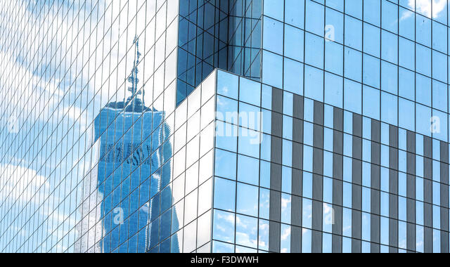 Reflection in modern office building windows, abstract background, NYC, USA. - Stock Image