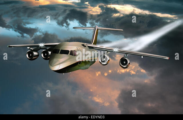 Private aircraft, evening sky, illustration - Stock Image