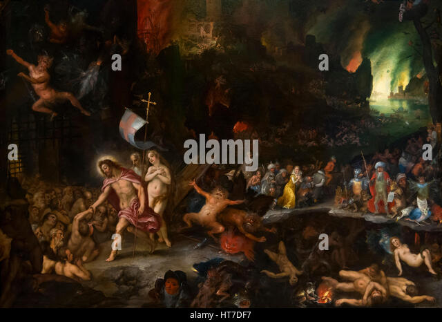 Christ's Descent into Limbo, by Jan Brueghel the Elder and Hans Rottenhammer, 1597, Royal Art Gallery, Mauritshuis - Stock Image