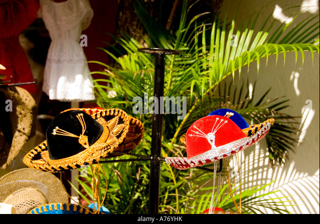 Mexico Cozumel San Miguel town, red sombrero floppy hats - Stock Image
