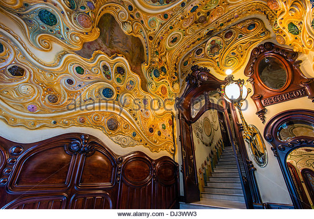 Interior view of Casa Comalat modernist building, Barcelona, Catalonia, Spain - Stock Image