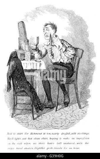 A shaving accident.          Date: circa 1835 - Stock Image