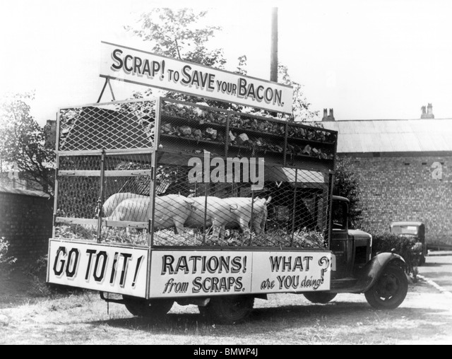 Morris salvage lorry in Liverpool 1941promoting recycling of scraps during World war 2 rationing. - Stock Image