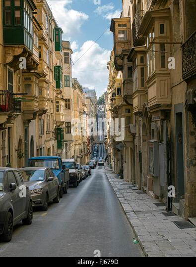 Back streets of Valletta, Malta - Stock Image