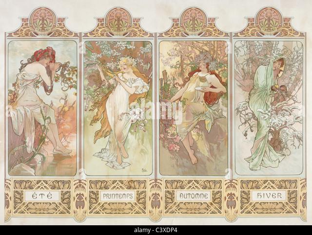 The Seasons, by Alphonse Mucha. Paris, France, 20th century - Stock-Bilder