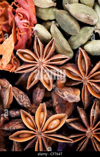 Indian cooking spices pattern.Flat lay photography from above. - Stock Image