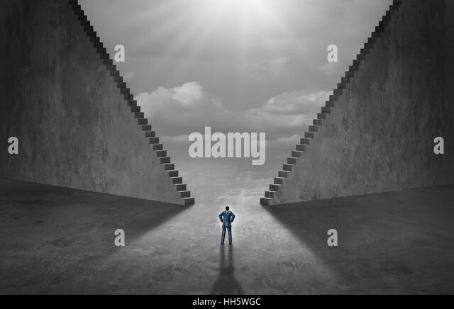 Opportunity staircase choice career decision and job opportunities concept as two high stair structures creating - Stock Image