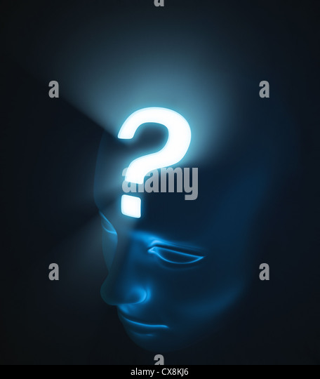 Head with interrogation. The strong light inside the head, represents the intensity of the doubt. - Stock Image