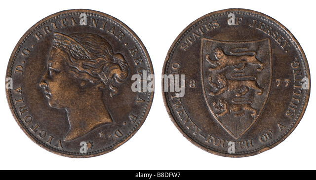 Victorian coin, 1877. States of Jersey. One Twenty fourth of a Shilling - Stock Image