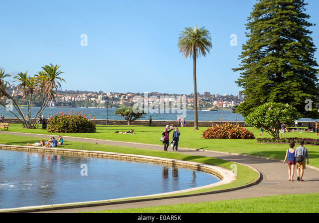 Sydney Australia NSW New South Wales Royal Botanic Gardens Main Pond Farm Cove Sydney Harbour harbor park - Stock Image
