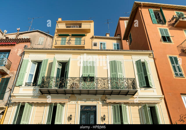 Colorful facades, Villefranche sur mer, Cote d Azur, South of France - Stock Image