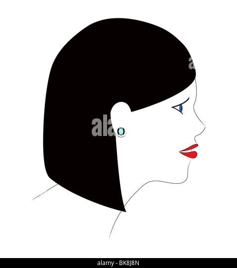 An illustration of the profile of a girl with black hair. - Stock-Bilder