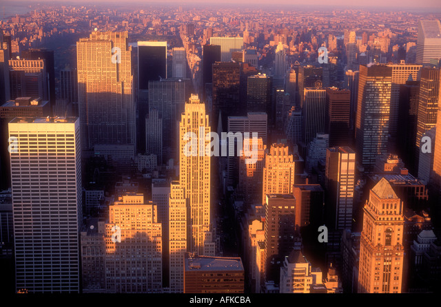 Elevated view of Manhattan skyline New York City USA - Stock Image