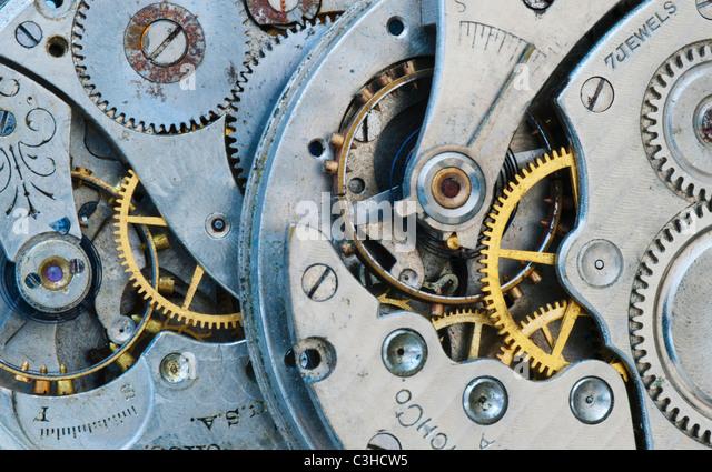 Close up of clock mechanism - Stock Image