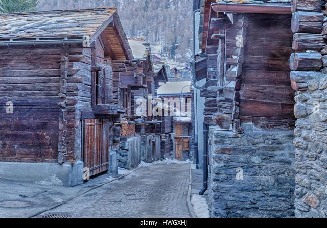 Hinterdorf, Old Town, Zermatt, Valais, Switzerland, Europe - Stock-Bilder