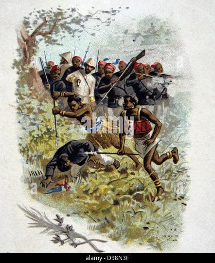 Repression in Brazzaville, Belgian Congo, Africa, August 1896. Colonialism Early Twentieth Century Trade Card - Stock-Bilder