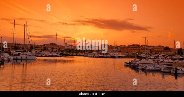 Italy Sardinia Palau harbour sunset - Stock Image