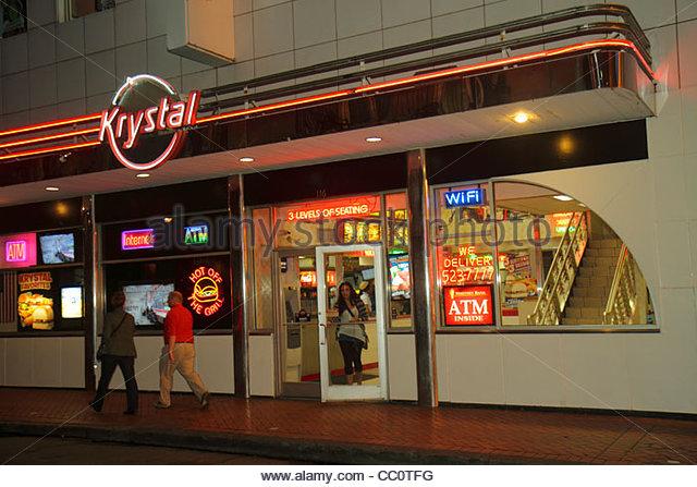 Louisiana New Orleans French Quarter Bourbon Street Krystal restaurant business fast food chain hamburger exterior - Stock Image