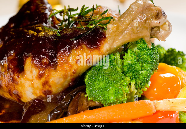 fresh beer sauce chicken stew and mix vegetables - Stock Image