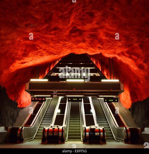 Subway escalator, Stockholm, Sweden - Stock Image
