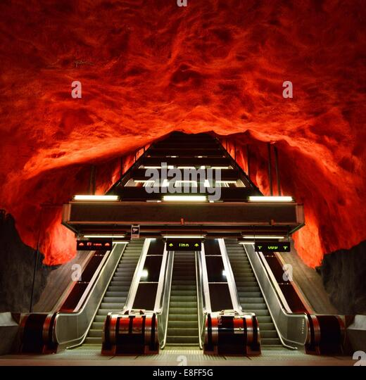 Sweden, Stockholm, Subway Escalator - Stock Image