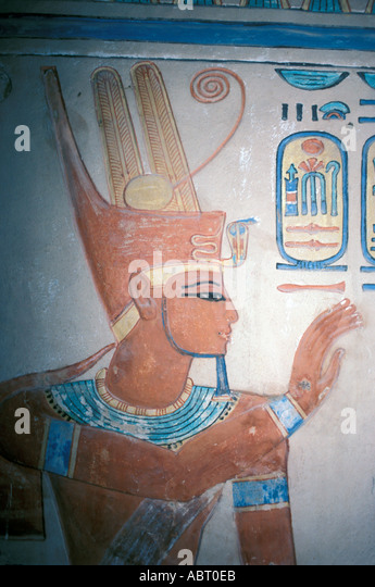 Egypt Luxor Tomb Painting in Valley of the Queens - Stock Image