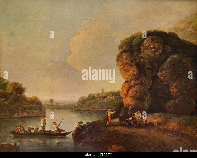 'Landscape, with River and Boats', c1758, (1938). Artist: Richard Wilson. - Stock Image