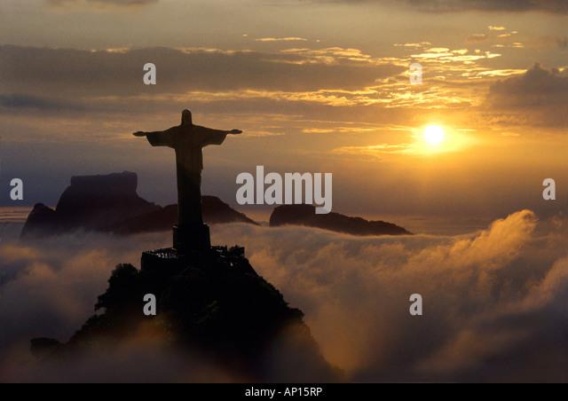 Corcovado statue from helicopter, Rio de Janeiro, Brazil, South America - Stock Image