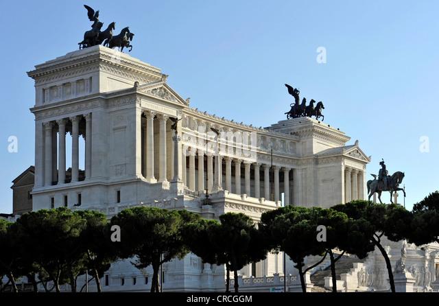 National Memorial to King Vittorio Emanuele II, Vittoriano or Altare della Patria, Rome, Lazio, Italy, Europe - Stock Image