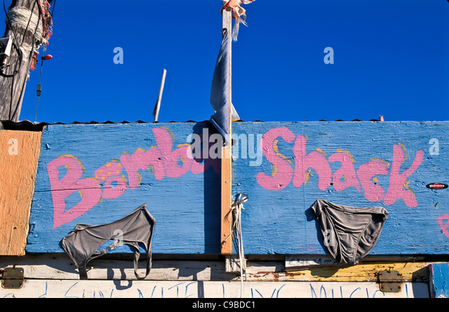 Bomba Shack, Tortola, entrance sign, British Virgin Islands - Stock Image