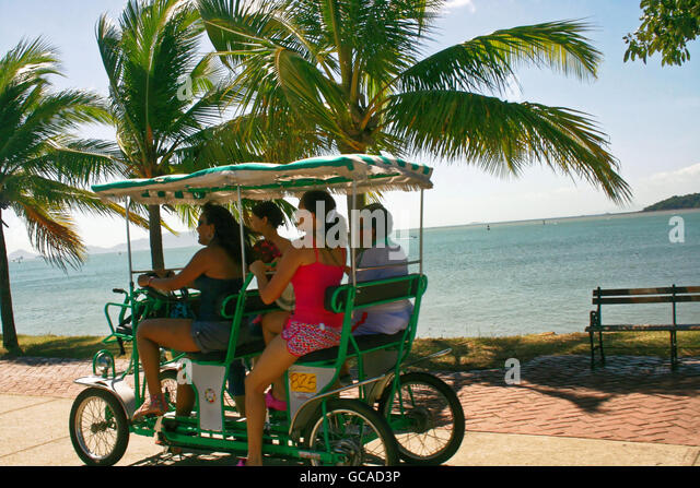 Four person bike trolley in Panama City, Panama. - Stock Image