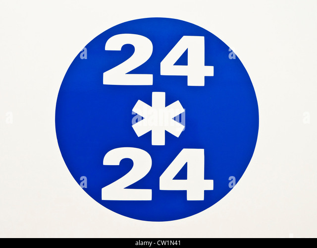 24 / 24 sign on ambulance - France. - Stock Image