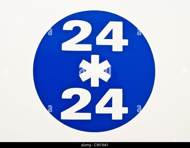 24 / 24 sign on ambulance - France. - Stock Image