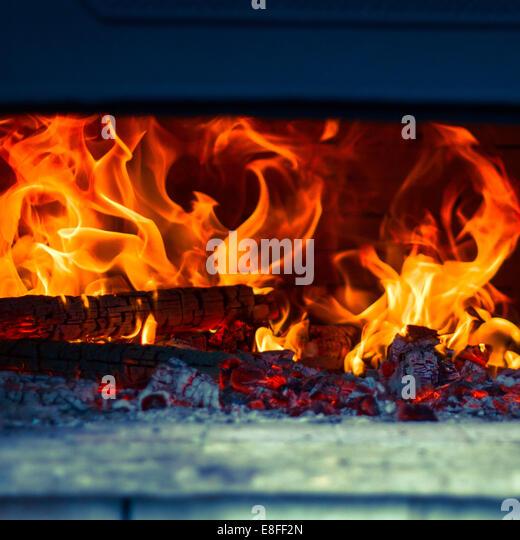 Close up of log fire - Stock-Bilder