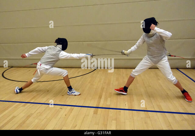 Berlin, Germany, boys in fencing - Stock Image