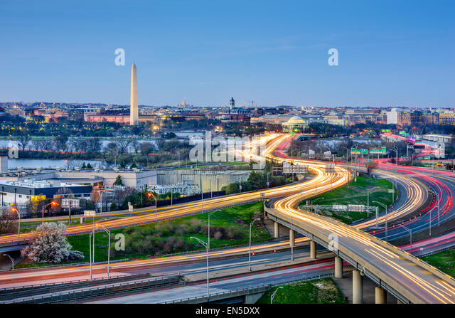 Washington, DC skyline of monuments and highways. - Stock Image