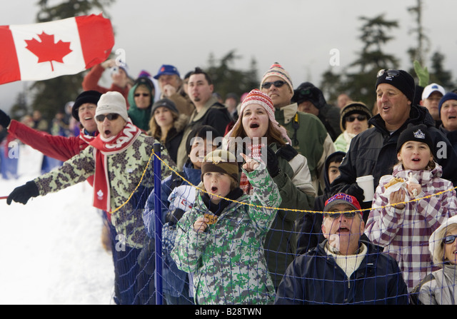 People celebrating Whistler British Columbia Canada, callahan valley, - Stock Image