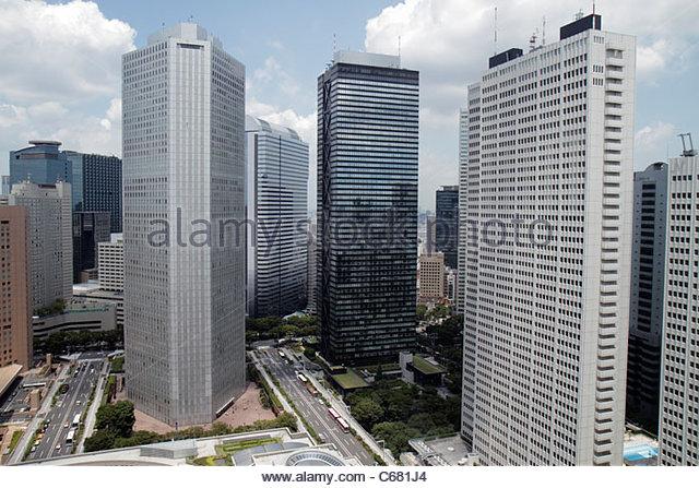 Japan Tokyo Shinjuku skyscrapers city skyline Mitsui Building Sumitomo Building Keio Plaza Hotel North Tower - Stock Image