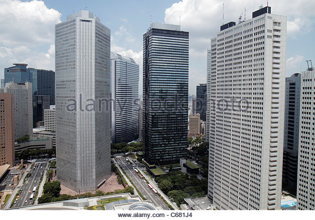 Tokyo Japan Shinjuku skyscrapers city skyline Mitsui Building Sumitomo Building Keio Plaza Hotel North Tower - Stock Image