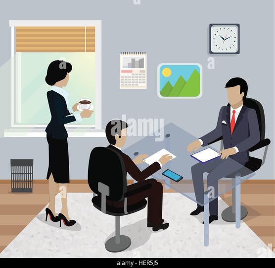 Isometric business meeting in office flat design. 3D Meeting business people, business team, meeting  in office, - Stock-Bilder