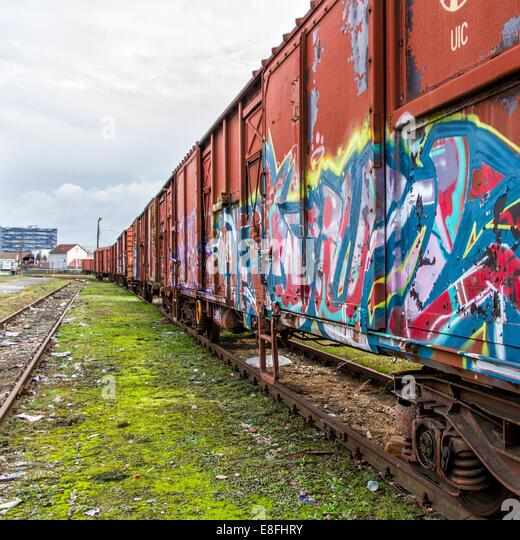 Graffiti Covered Train - Stock Image