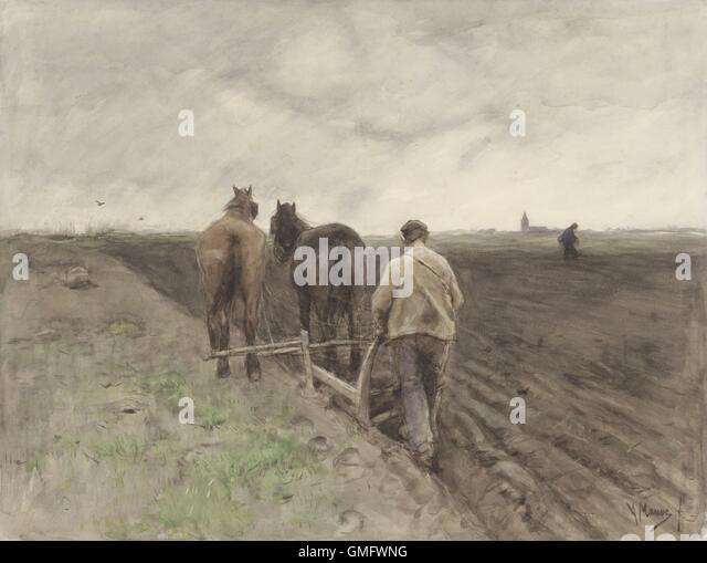 Plowing Farmer, 1848-88, Dutch watercolor painting by Anton Mauve. In distance another farmer sows seeds. In far - Stock-Bilder