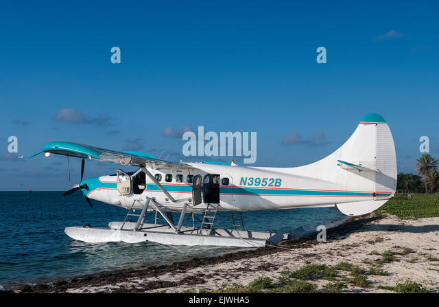 Key West Seaplane Adventures' Charter plane to Fort Jefferson National Park - Stock Image