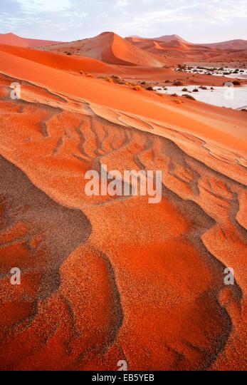 Sand Dune Patterns - Sossusvlei National Park - Namib-Naukluft National Park, Namibia, Africa - Stock Image
